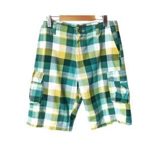 National Outfitters Plaid Cargo Shorts 34